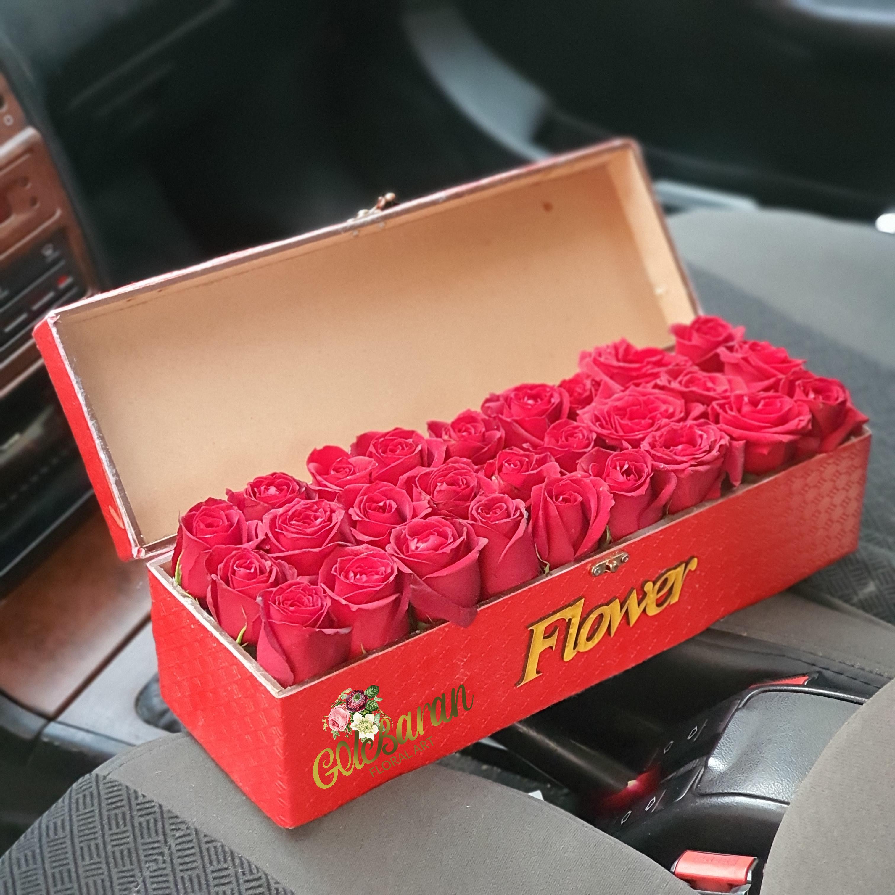 باکس گل رز صندوقچه قرمز