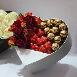 باکس گل شونیز طلایی و شونیز قلب